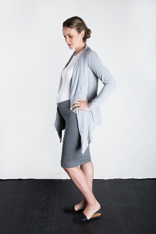 MATRON SAINT the executive maternity wrap jacket heather grey 127