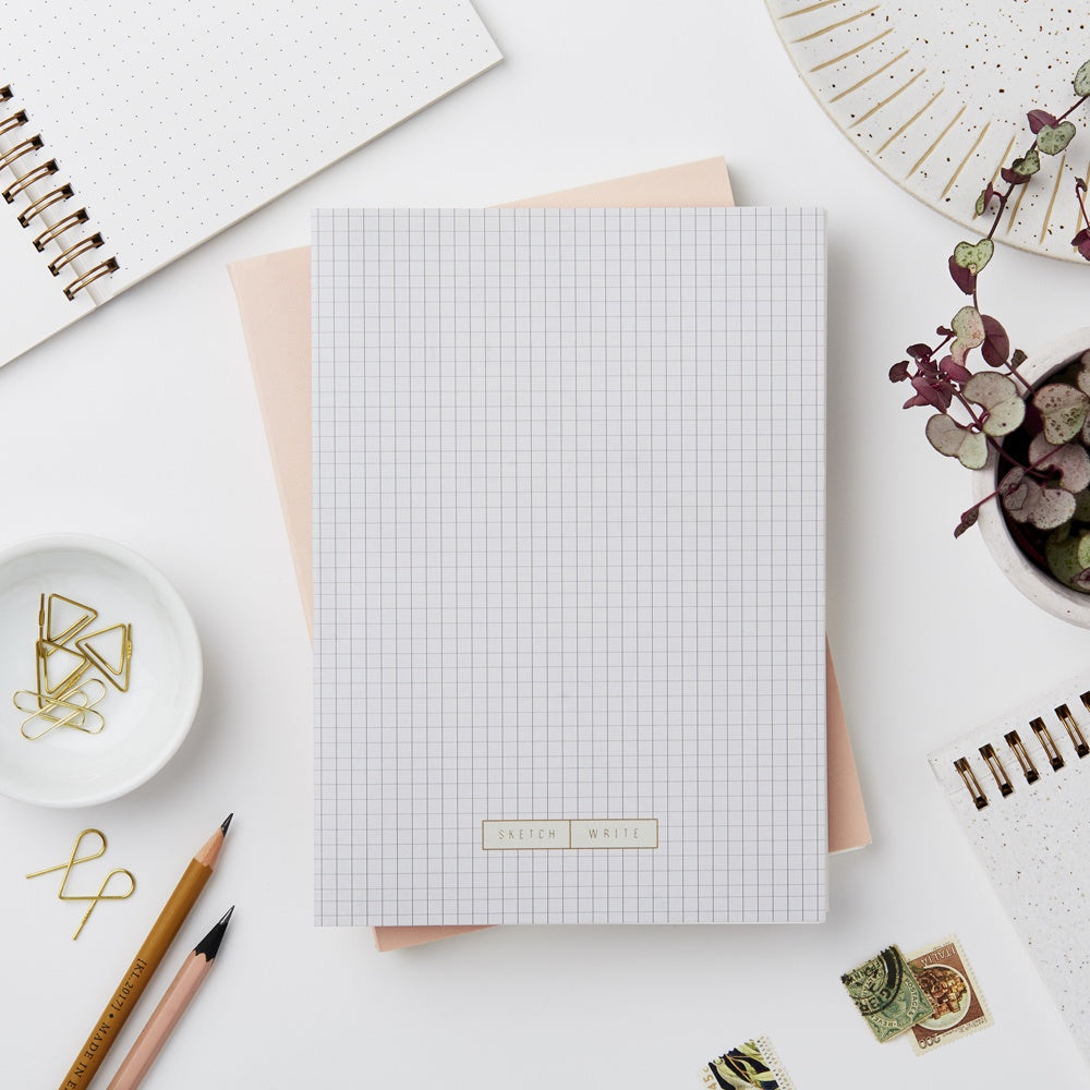 Katie Leamon Wiro Grey Grid Notebook