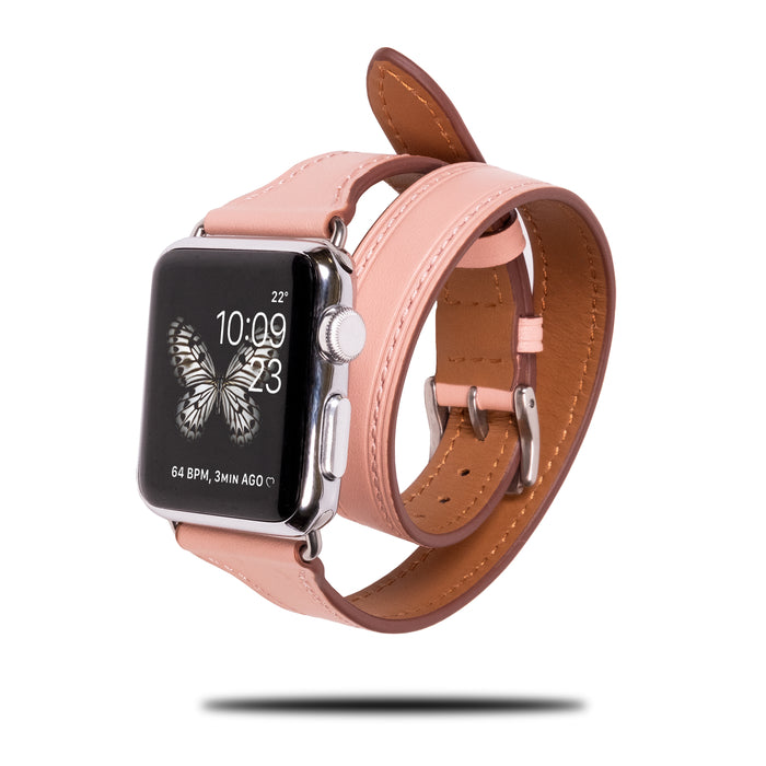 Blush Pink Leather Apple Watch Double Tour Band & Bracelet Strap-Apple Watch Band-Kulör Cases