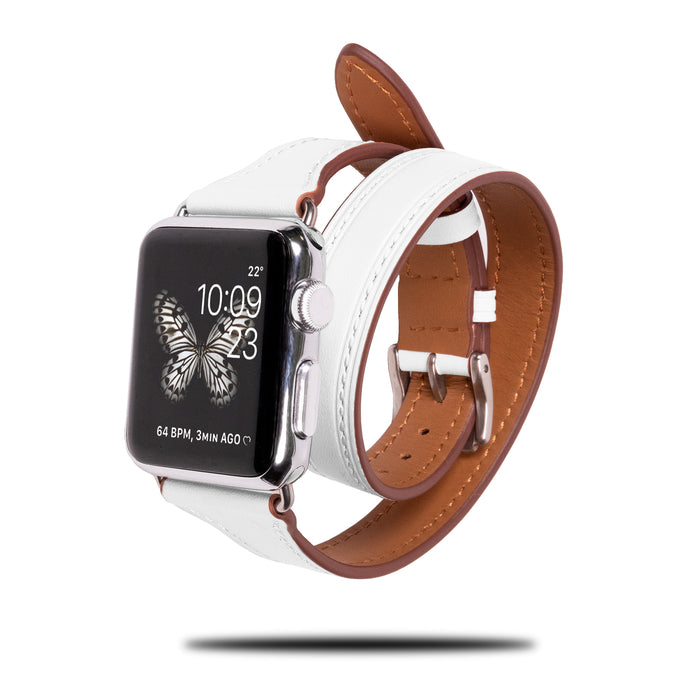 Pearl White Leather Apple Watch Double Tour Band & Bracelet Strap-Apple Watch Band-Kulör Cases