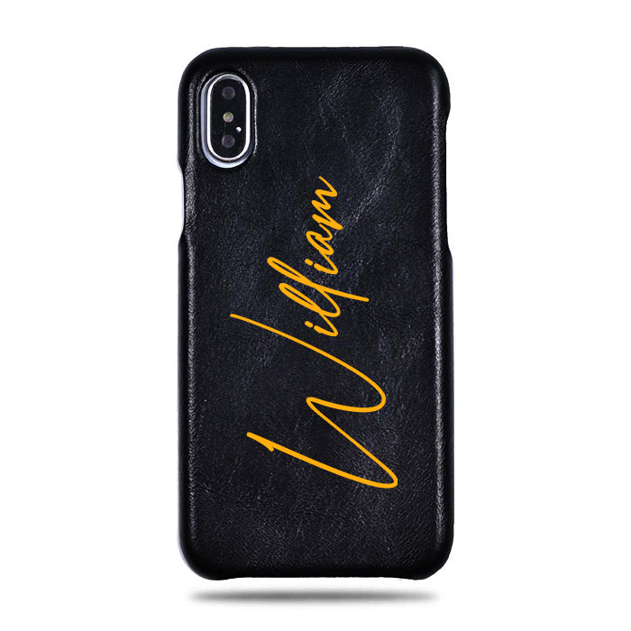 Personalized Signature iPhone Xs Max Black Leather Case