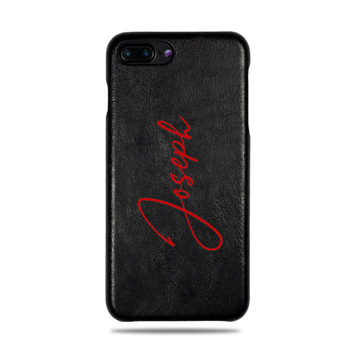 Personalized Signature iPhone 8 Plus / iPhone 7 Plus Black Leather Case