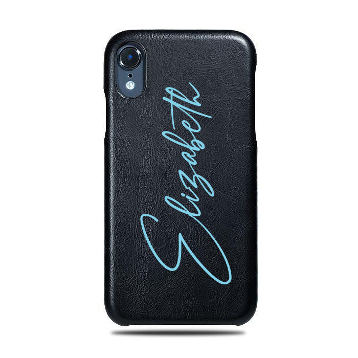 Personalized Signature iPhone XR Black Leather Case