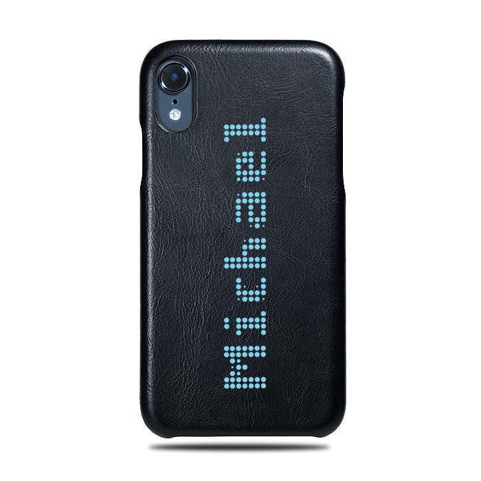 Personalized Bot Font iPhone XR Black Leather Case