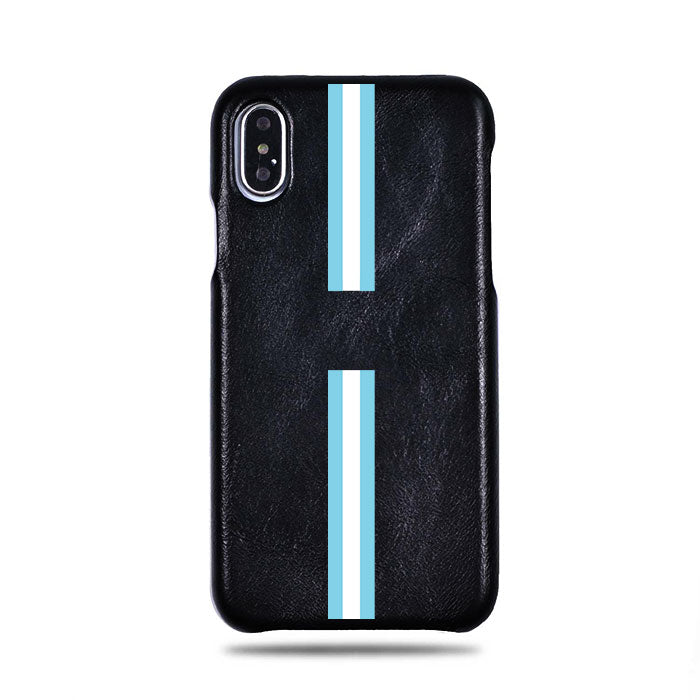 Personalized Blue Stripe iPhone Xs / iPhone X Black Leather Case