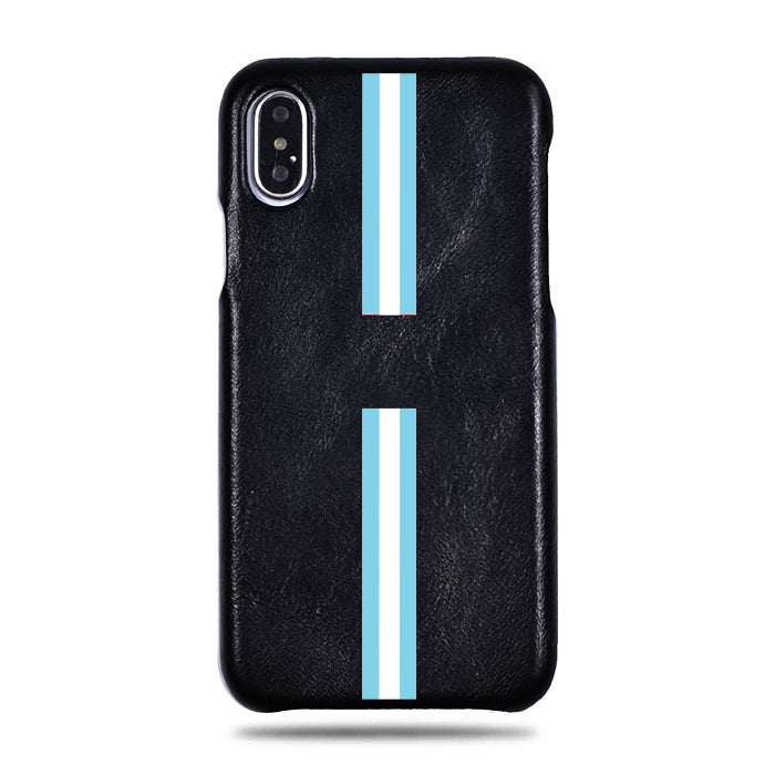 Personalized Blue Stripe iPhone Xs Max Black Leather Case