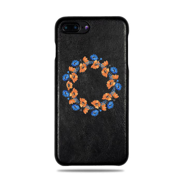 Personalized Orange & Blue Flowers iPhone 8 Plus / iPhone 7 Plus Black Leather Case