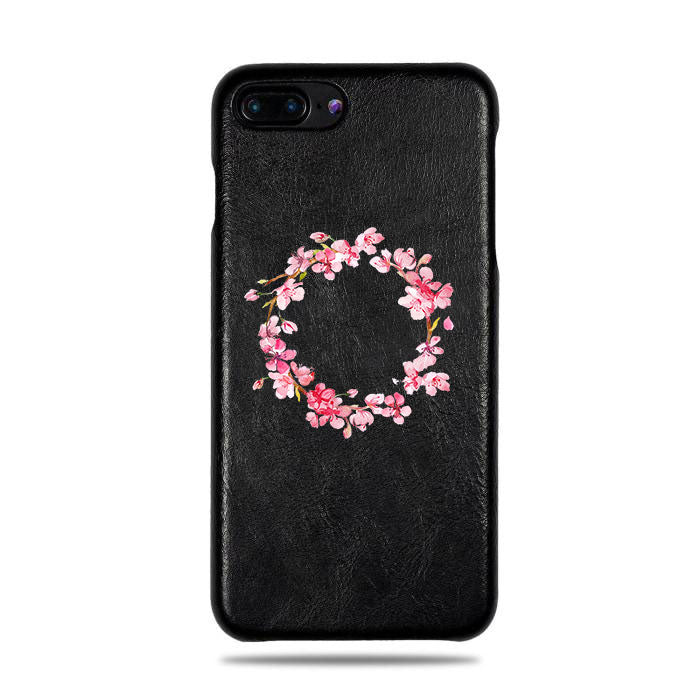Personalized Pink Flowers iPhone 8 Plus / iPhone 7 Plus Black Leather Case