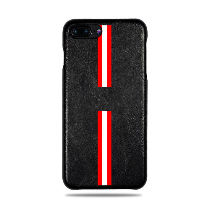 Personalized Red Stripe iPhone 8 Plus / iPhone 7 Plus Black Leather Case