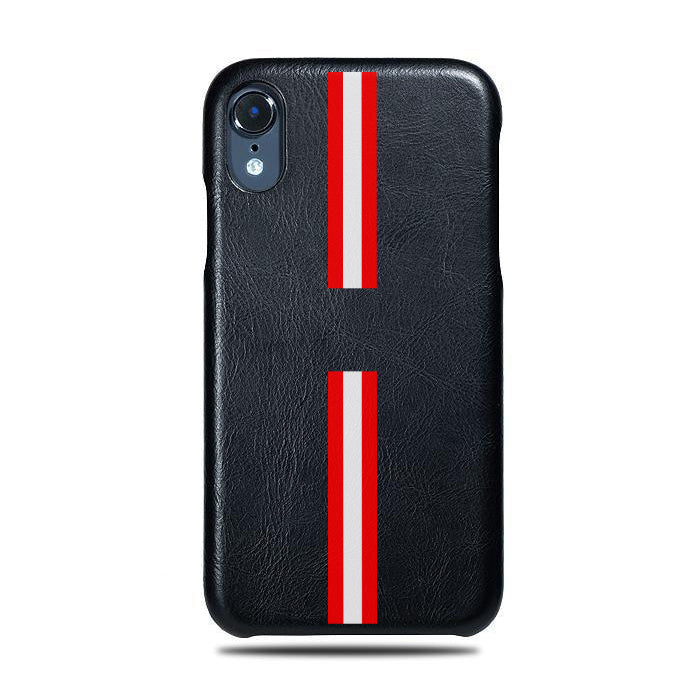 Personalized Red Stripe iPhone XR Black Leather Case