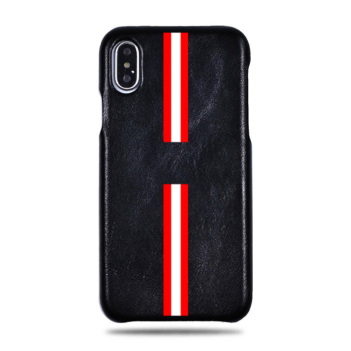 Personalized Red Stripe iPhone Xs Max Black Leather Case