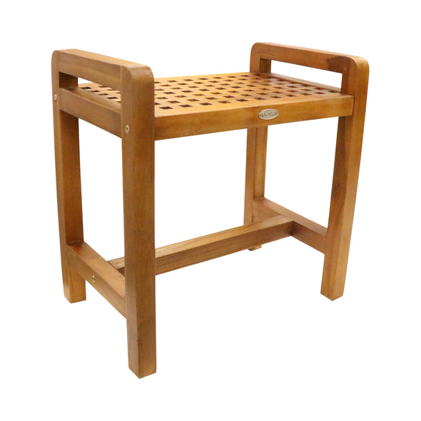 Ala Teak Shower Seat Bench with Storage Shelf for Seating, Support & Relaxation, Spa Bath Bench Stool Perfect for Indoor or Outdoor Use - ALA TEAK