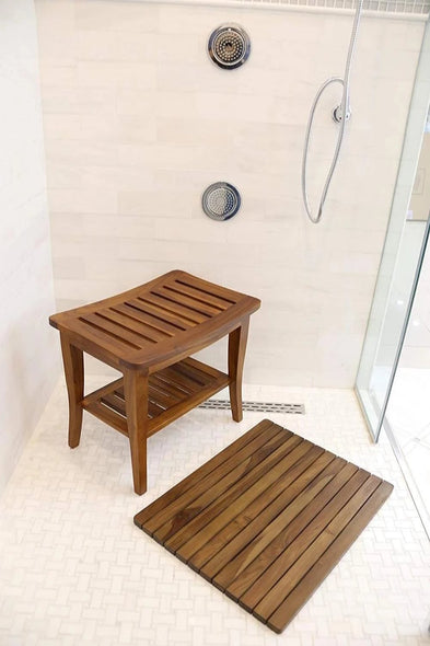 Ala Teak Indoor Outdoor Patio Garden Yard Bath Shower Spa Waterproof Bench Stool Bench Fully Assembled - ALA TEAK