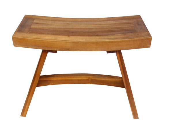 Ala Teak 24  With Cross Bar Spa Bath Shower Teak Bench Stool Fully Assembled - ALA TEAK