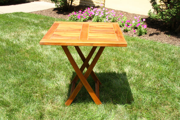 Ala Teak Wood Patio Outside Garden Yard Folding Table Waterproof Teak Furniture - ALA TEAK