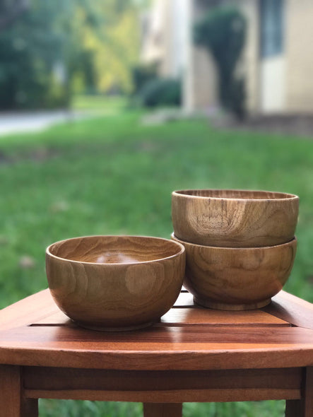 Ala Teak Wood Unbreakable Kitchen Soup Salad Cup Bowl Plate Set of 2 - ALA TEAK