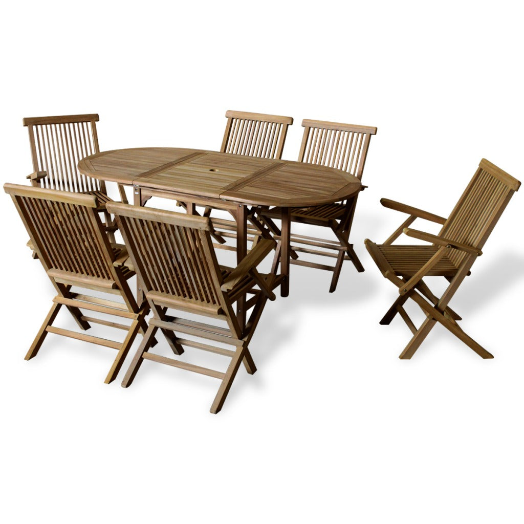 Outdoor Dining Set 7 Pieces Teak with Extendable Table - ALA TEAK