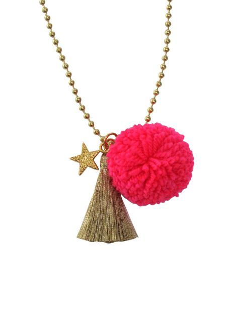 Neon Pink Bright Star Pom Necklace