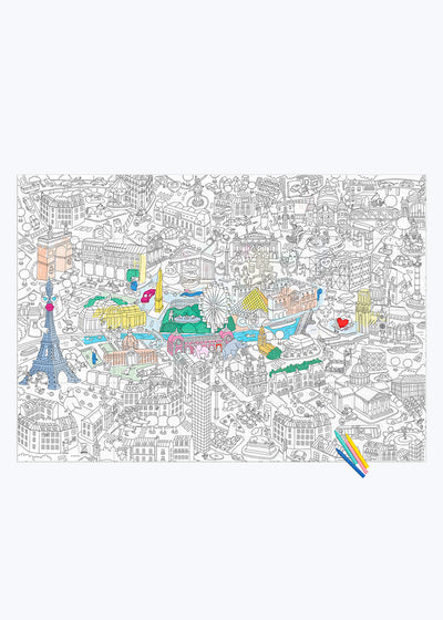 Paris Coloring Poster