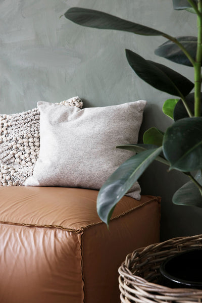 soft lambswool knit cushion cover sand