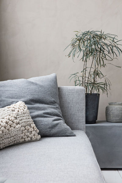 soft lambswool knit cushion cover grey