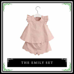 kids clothes, two piece matching set, young girl clothes, ruffle sleeve, trendy short, solid color, casual, elegant, comfortable, versatile, cotton, summer outfit, pink