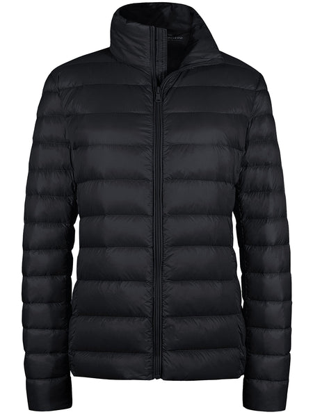 Black Women's Packable Down Jacket Short Lightweight Travel Jackets