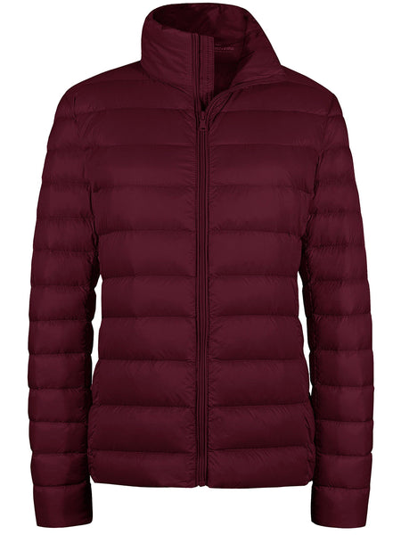 WineRed Women's Packable Down Jacket Short Lightweight Travel Jackets