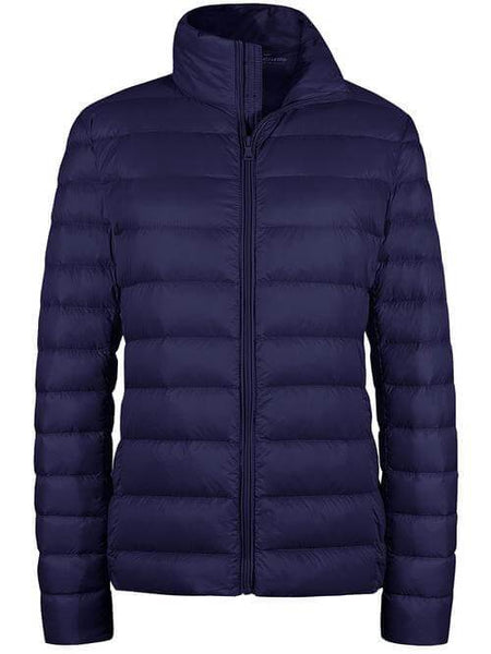 Navy Women's Packable Down Jacket Short Lightweight Travel Jackets