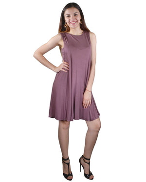 Solid Sleeveless Round Neckline Skater Dress - Happy-Go-Cart