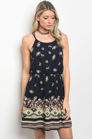 Ladies fashion sleeveless floral print skater dress that features a rounded neckline - Happy-Go-Cart