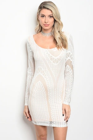 Ladies fashion scoop neck lace bodycon dress with sexy back detail - Happy-Go-Cart