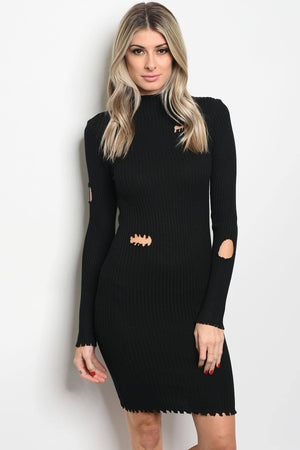 Ladies fashion long sleeve ribbed knit fitted bodycon dress with distressed details and a mock neckline - Happy-Go-Cart
