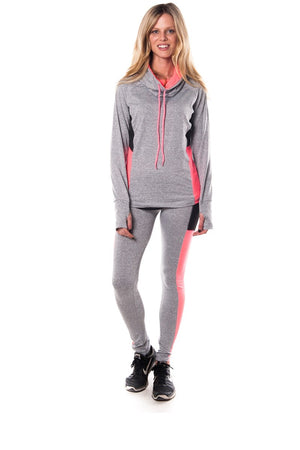 Ladies fashion plus size active sport yoga / zumba 2 pcs set with pull over jacket & leggings outfit