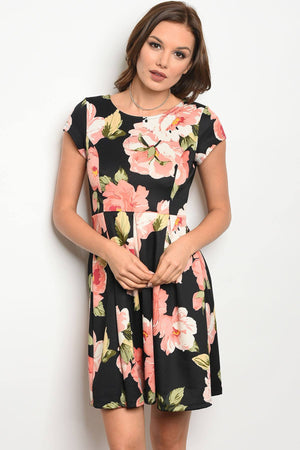 Ladies fashion short sleeve multi color floral print skater dress with a rounded  neckline - Happy-Go-Cart