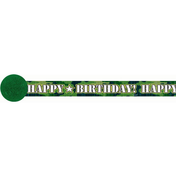 Camouflage Crepe Streamer Happy Birthday! (9.14 Metres long x 4.8cm Wide) - Each