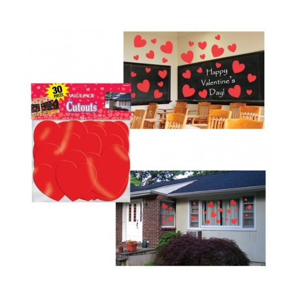 Hearts Cutouts Value Pack Cardboard 6 x 29cm, 8 x 18cm & 16 x 13cm - Pack of 30