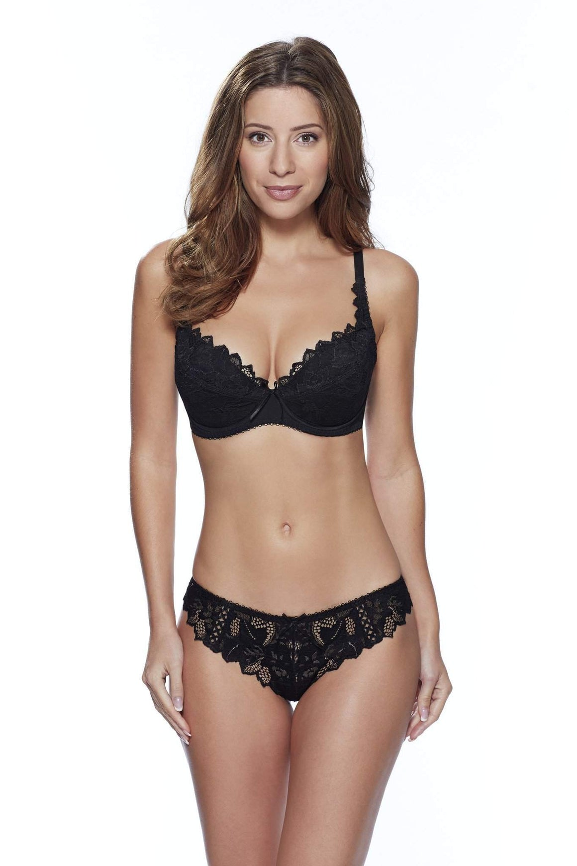 Fiore Plunge Bra in Black by Lepel - Charnos / Lepel - Katys Boutique Lingerie USA