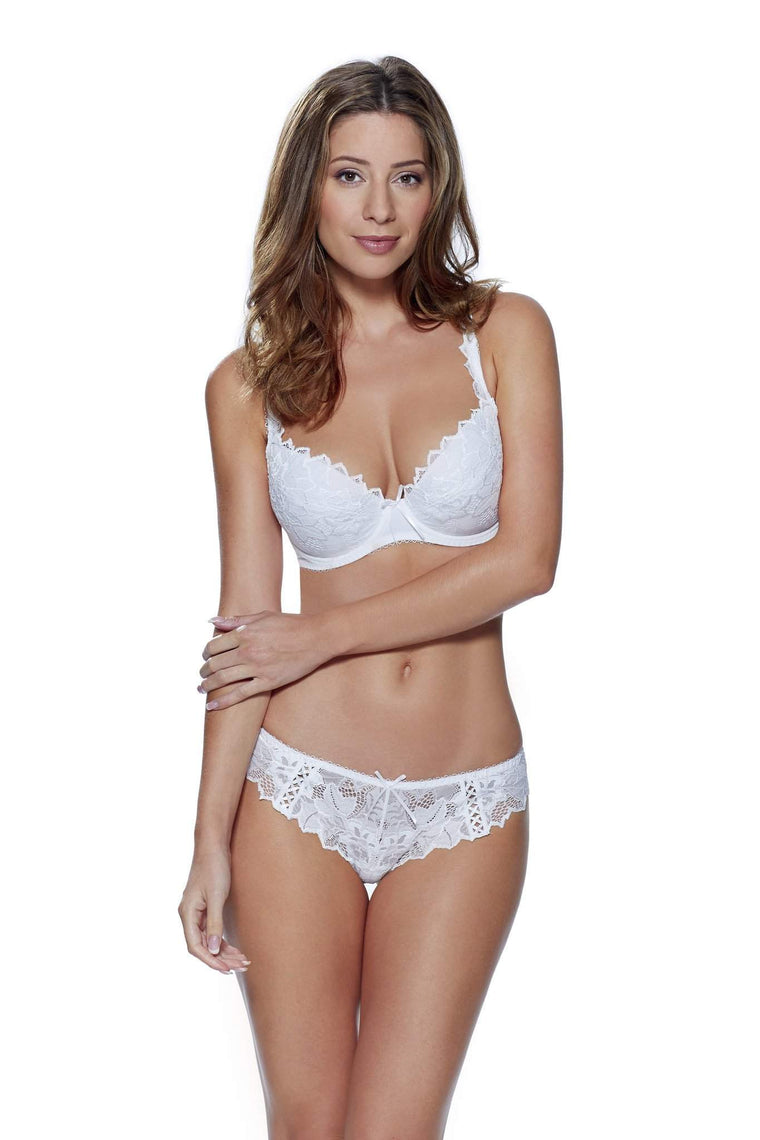 Fiore Plunge Bra in White by Lepel - Charnos / Lepel - Katys Boutique Lingerie USA