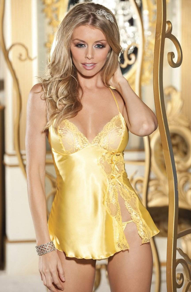 20016 Butter Lace Babydoll in Buttercup Yellow by Shirley of Hollywood - Shirley of Hollywood - Katys Boutique Lingerie USA