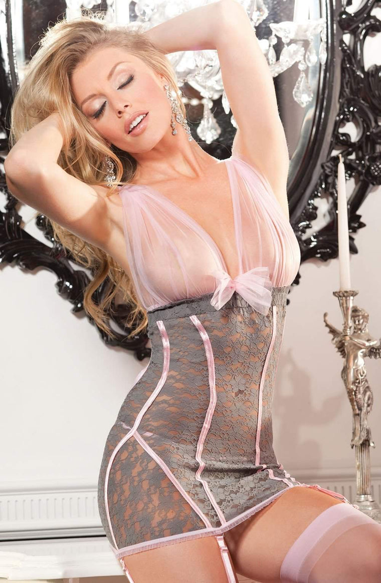 SoH 25235 Grey/Pink - Shirley of Hollywood - Katys Boutique Lingerie USA