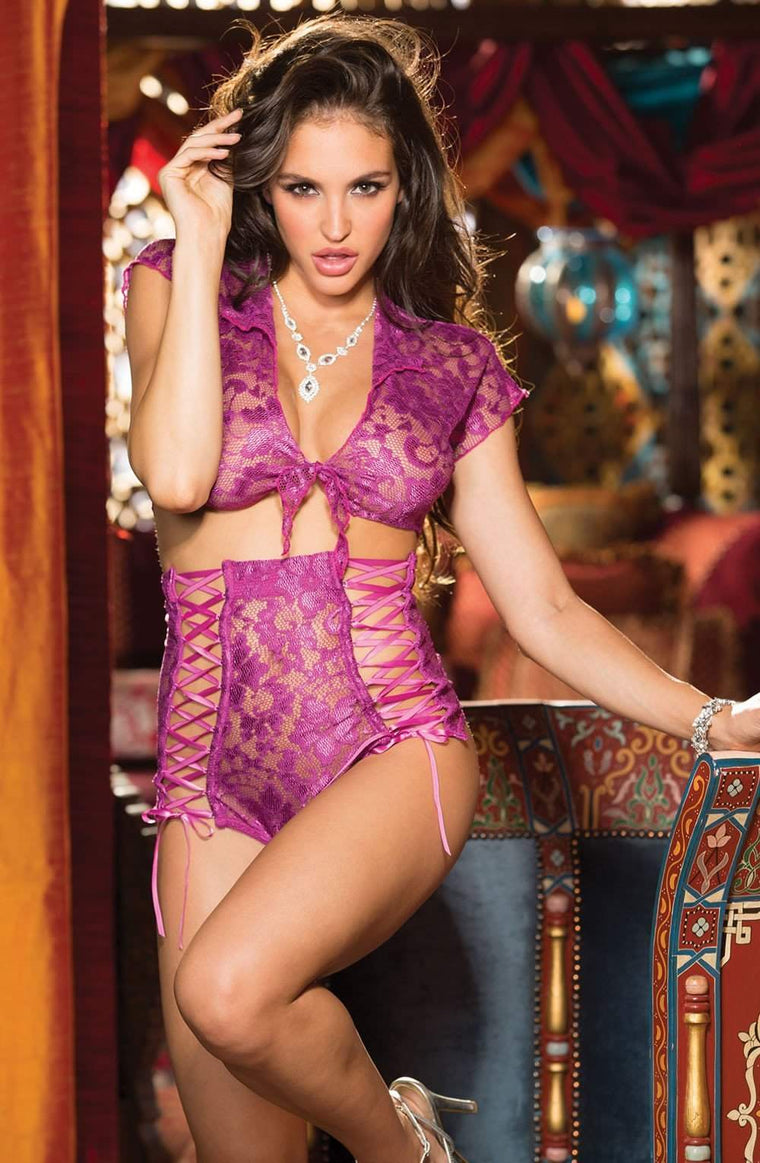 SoH 25373 Stretch Lace Set Magenta - Shirley of Hollywood - Katys Boutique Lingerie USA