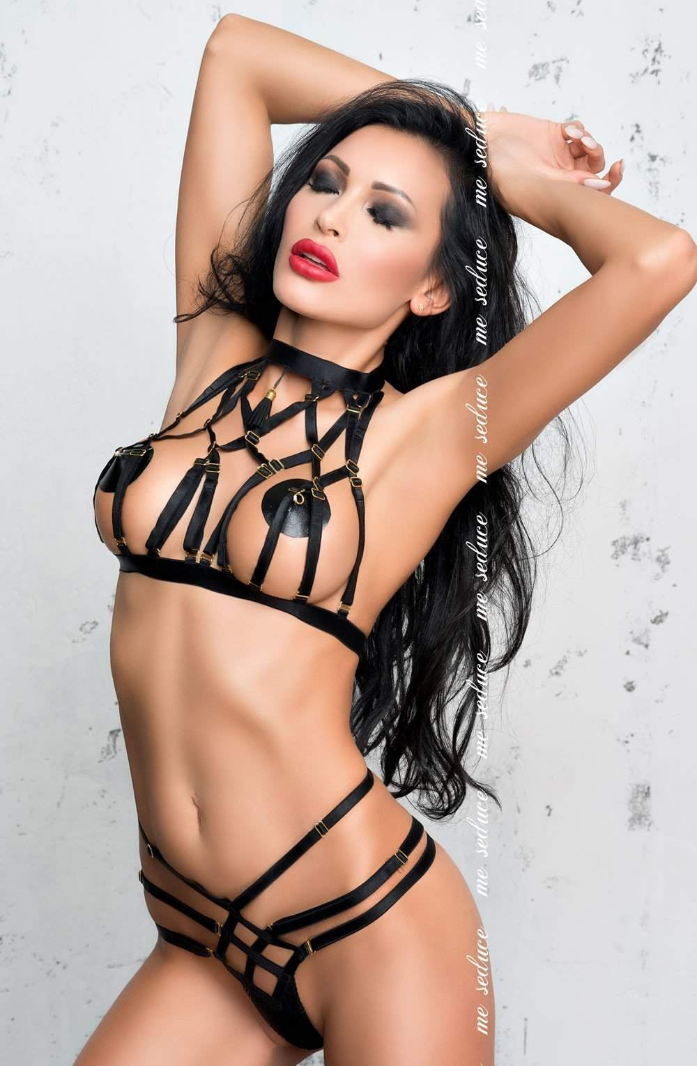 Aisha Set in Black by Me Seduce - Me Seduce - Katys Boutique Lingerie USA