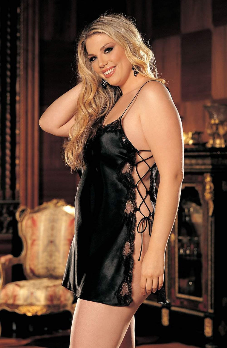 X20015 Chemise in Black by Shirley of Hollywood - Shirley of Hollywood - Katys Boutique Lingerie USA