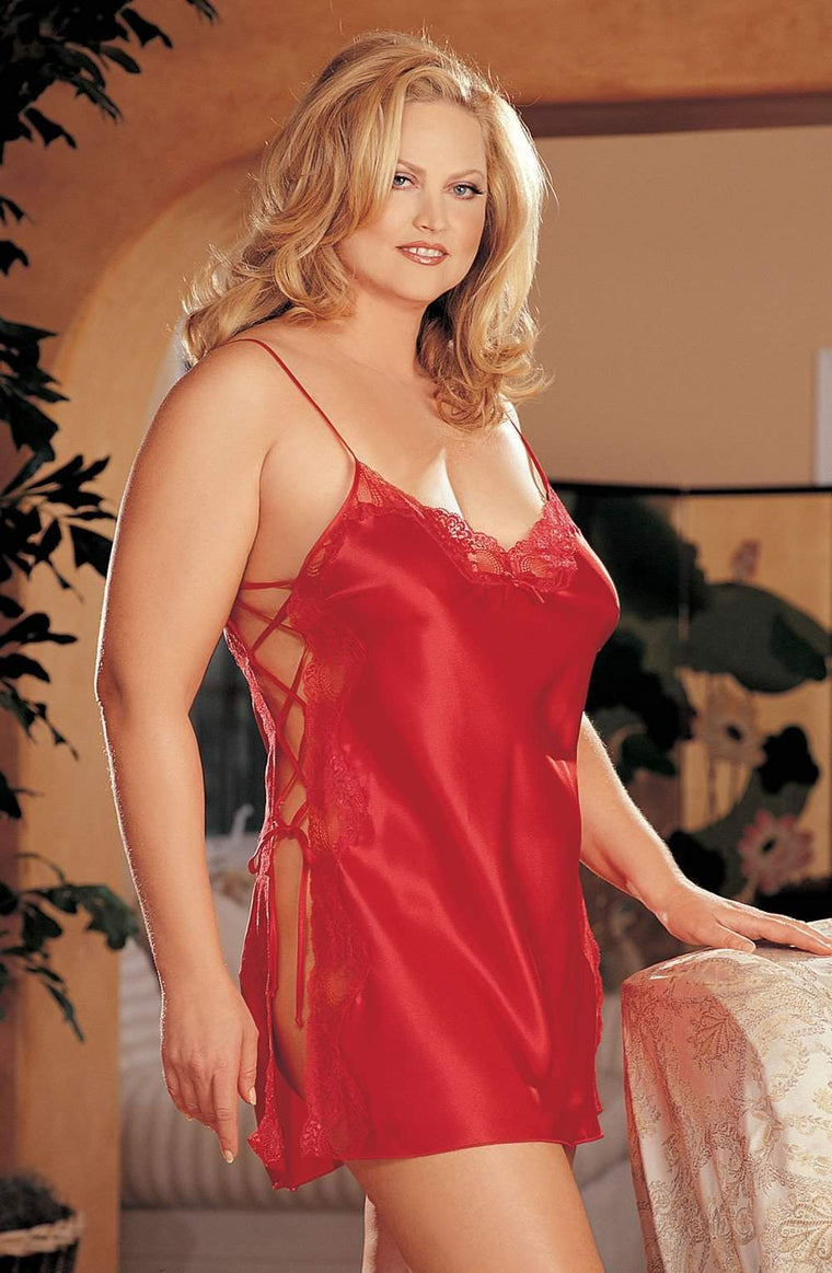 X20015 Chemise in Cherry Red by Shirley of Hollywood - Shirley of Hollywood - Katys Boutique Lingerie USA