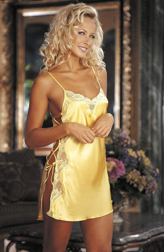 20015 Lace Chemise in Buttercup Yellow by Shirley of Hollywood - Shirley of Hollywood - Katys Boutique Lingerie USA