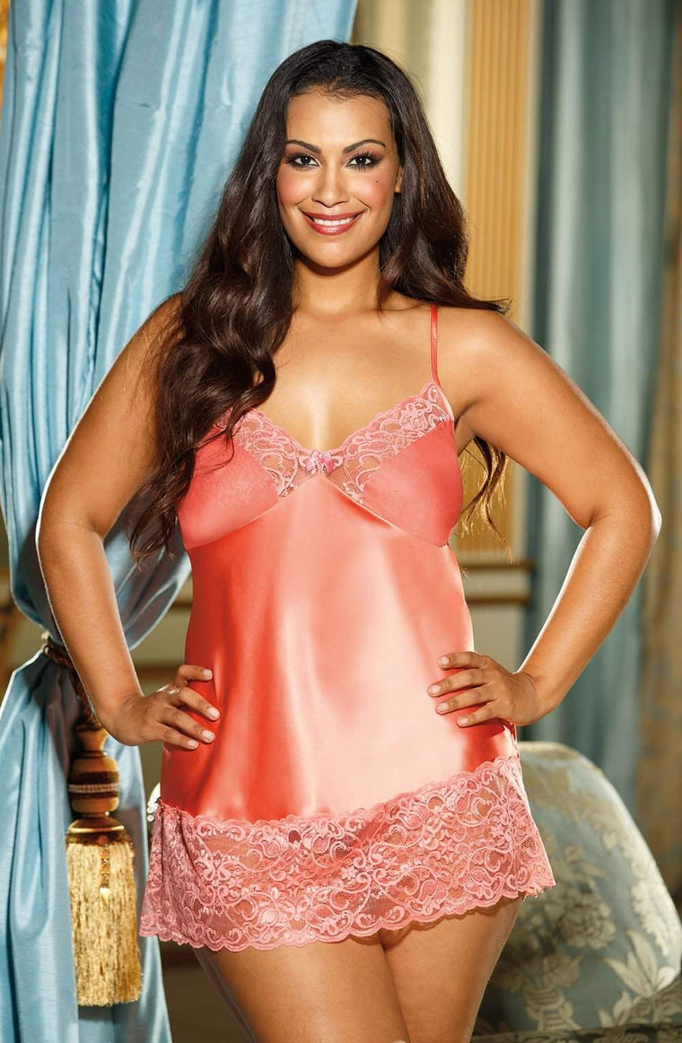X20562 Chemise in Peachy/Coralesque by Shirley of Hollywood - Shirley of Hollywood - Katys Boutique Lingerie USA