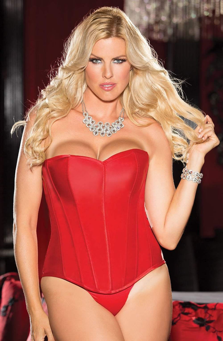 X31044 Satin Corset in Red by Shirley of Hollywood - Shirley of Hollywood - Katys Boutique Lingerie USA