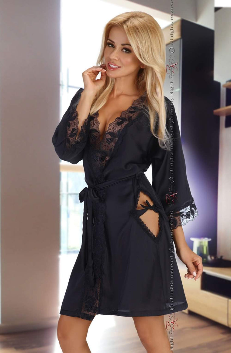 Ambrosia Dressing Gown in Black by Beauty Night - Beauty Night - Katys Boutique Lingerie USA