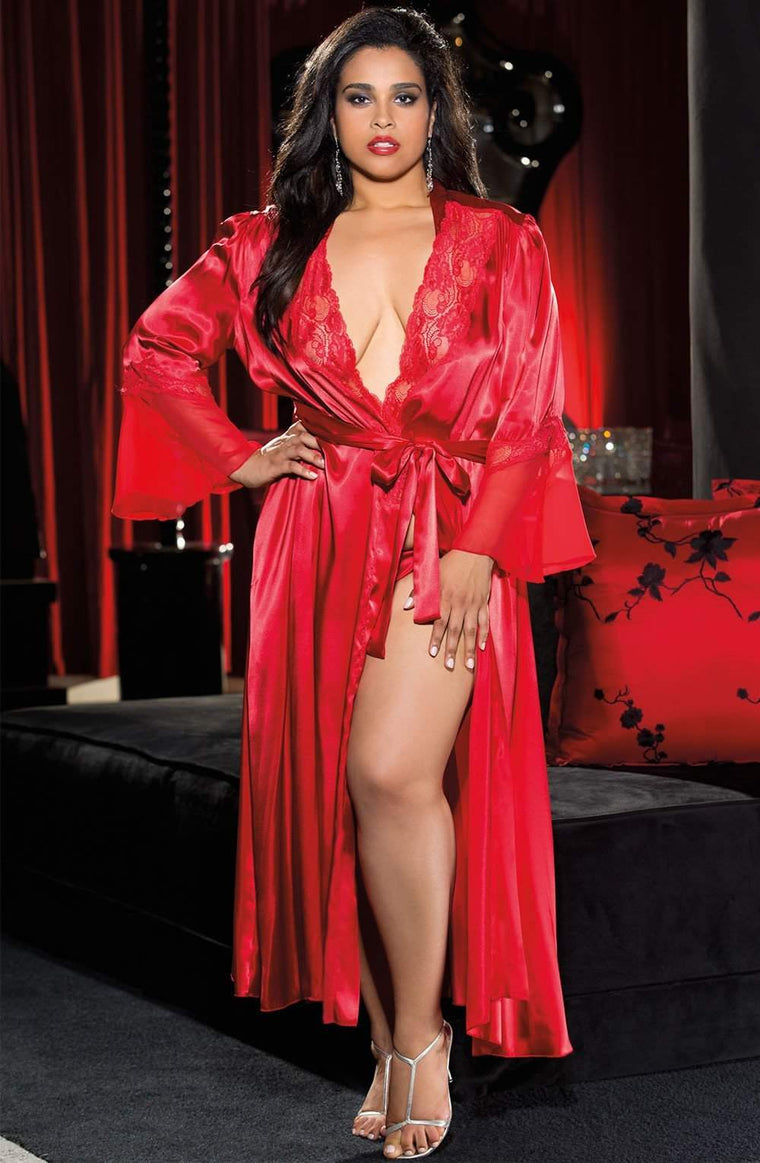 X20559 Long Robe in Red by Shirley of Hollywood - Shirley of Hollywood - Katys Boutique Lingerie USA